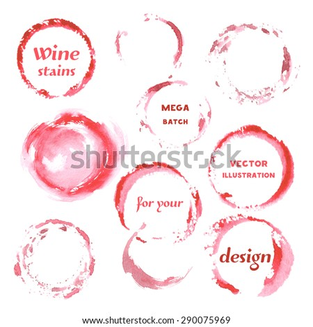 Isolated Watercolor spilled wine stains glass mark. Creative Abstract Aquarelle art handmade paint. Color Drops, blots and Spray for your design. Vector illustration.