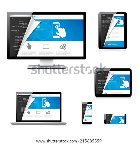 Isolated website development vector electronic devices tablet, laptop, computer and phone. Curved blue web design and html5 code in behind. - stock vector