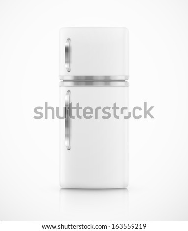 Isolated white fridge. Illustration contains transparency and blending effects, eps 10 - stock vector