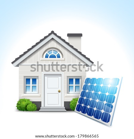 isolated white house with solar panel and blue sky - stock vector