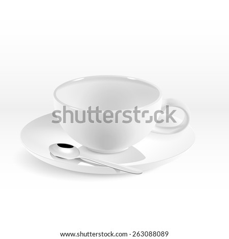 Isolated white porcelain rotund cup for coffee - stock vector