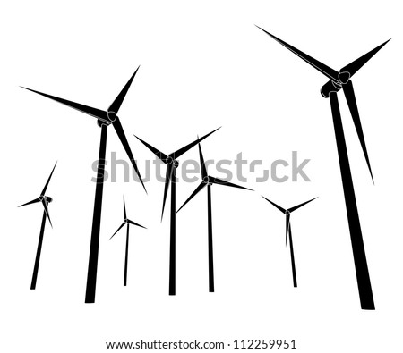 isolated wind energy power vector silhouettes vector illustration - stock vector