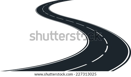 isolated winding road - clip art illustration - stock vector
