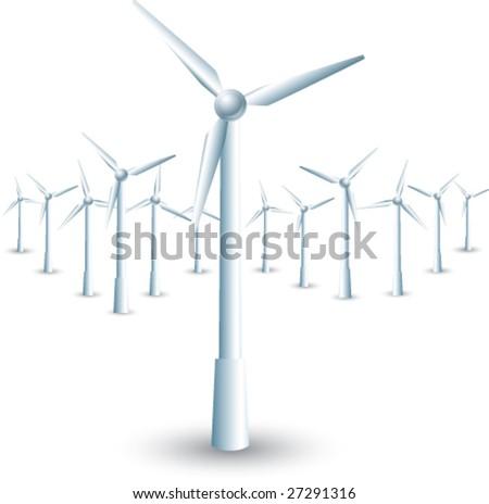 isolated windmills - stock vector