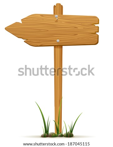 Isolated wooden sign in a grass, illustration. - stock vector
