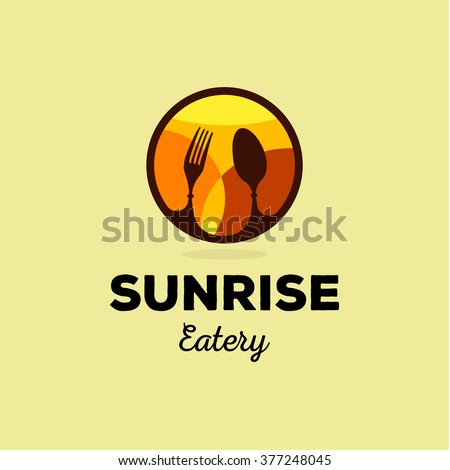Isolated yellow and orange vector food service logo. Table setting icon. Fork and spoon image. Round logotype. Sunrise illustration. Eatery emblem. Restaurant sign. Cafe symbol. Delicious meals. - stock vector