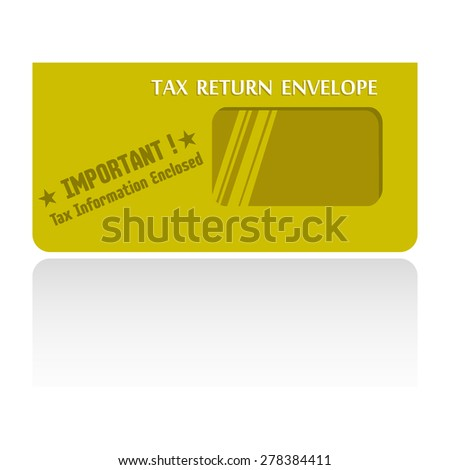 Isolated yellow envelope with the text tax return envelope written with white letters - stock vector