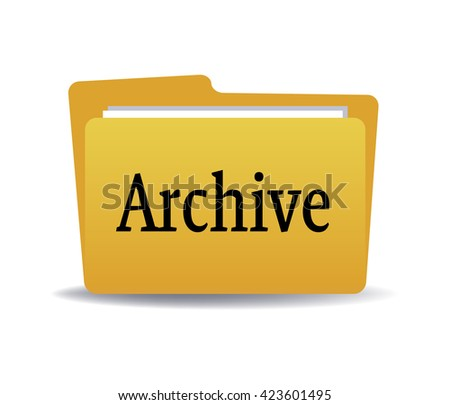 Isolated yellow folder with the word archive written with black letters - stock vector