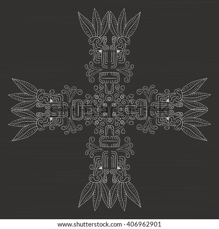 Isolation ornament. ancient hieroglyphs - stock vector