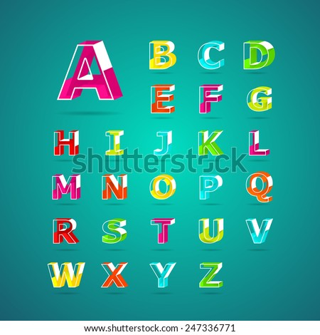 Isometric alphabet font.Capital letter A, B, C, D, E, F, G, H, I, J, K, L, M, N, O, P, Q, R, S, T, U, V, W, X, Y, Z. Vector illustration. - stock vector
