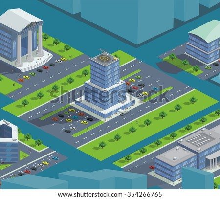 isometric bank building customers, vector