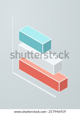 Isometric bar chart icon. Vector 3d graph. - stock vector
