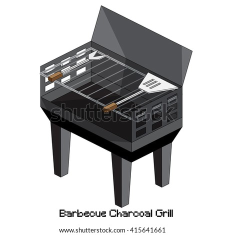 isometric barbecue charcoal grill
