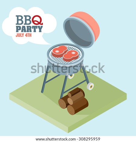 isometric  barbecue. flat vector - stock vector