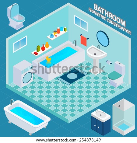 Isometric bathroom and toilet apartment interior with 3d facilities and decor elements vector illustration - stock vector