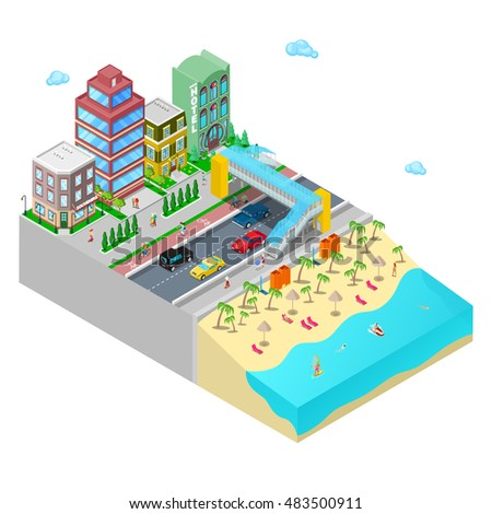 Isometric Beach Hotel with Sea Coast and Active Swimming People. Flat 3d Vector illustration