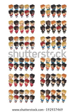 isometric block pixel cartoon character pack - stock vector