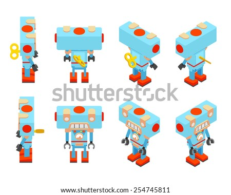 Isometric blue toy robot with the key in the back - stock vector
