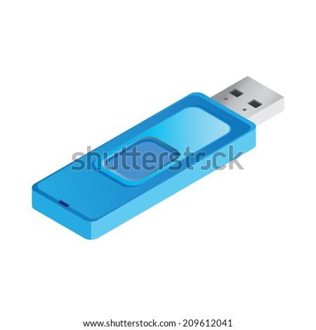 isometric blue USB stick illustration vector - stock vector