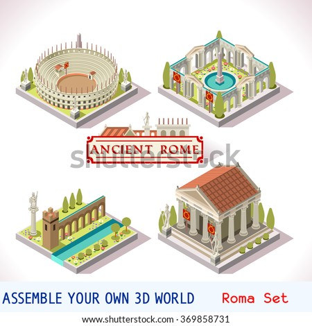 Isometric Building Ancient Rome Tiles for Online Strategic Game Insight and Development. Isometric Flat 3D Roman Imperial Buildings Set. Game Phenomena Rome Caesar Age. Vector Temple Arena Empire. - stock vector