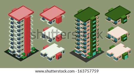 isometric building/apartment, its height is easily customize - stock vector