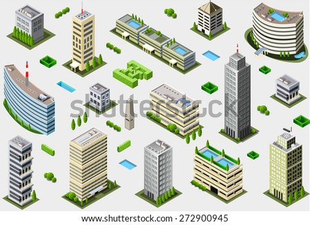 Isometric Building City Palace Private Real Estate. Public Buildings Collection Luxury Hotel Gardens. Isometric Tiles.3d Skyscraper Building Map Illustration Elements Set Business Vector Game