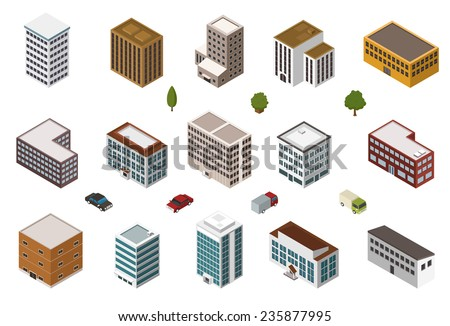 Isometric building collection - stock vector
