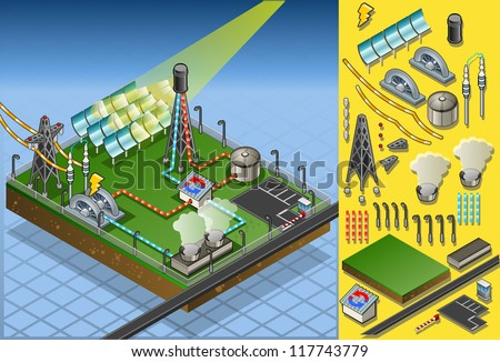 Isometric Building Concentrating Solar Power Systems CSP Plant Farms Isometric Electric Power Station Electricity Grid and Energy Supply Chain.Energy Harvesting and Saving Management Diagram 3d Vector - stock vector