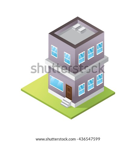 Isometric Building, House Icon Set