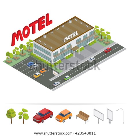 Isometric Building. Motel with Parking. Isometric Motel. City Architecture. Urban Objects. Isometric Transportation. Isometric City. Vector illustration