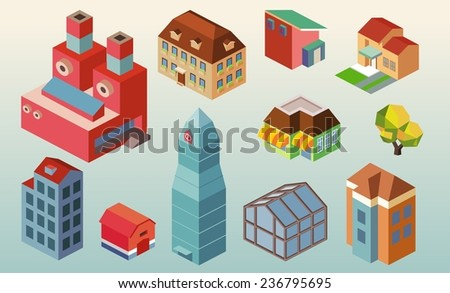 Isometric building office set. vector illustration - stock vector