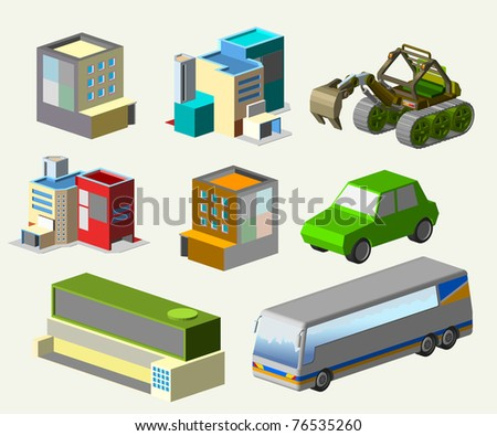isometric building set - stock vector