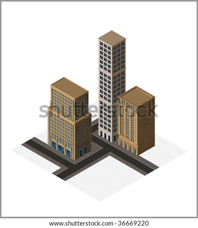 isometric buildings- vector