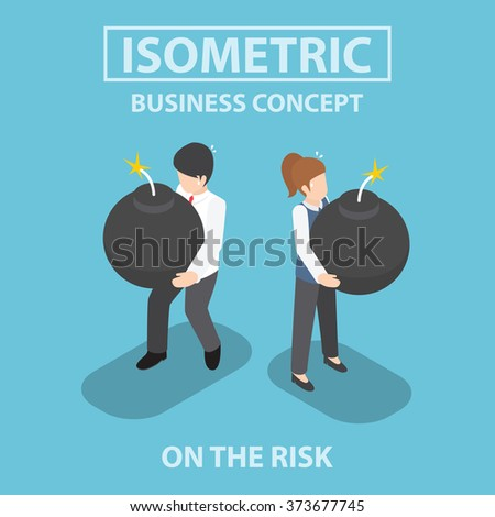 Isometric business people holding heavy bomb on their hands, risk , crisis, concept, VECTOR, EPS10 - stock vector