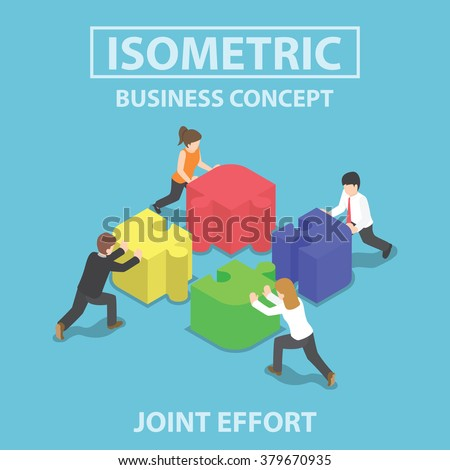 Isometric business people pushing and assembling four jigsaw puzzles, teamwork, collaboration, joint effort concept - stock vector