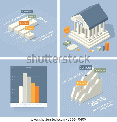 Isometric business vector set - stock vector