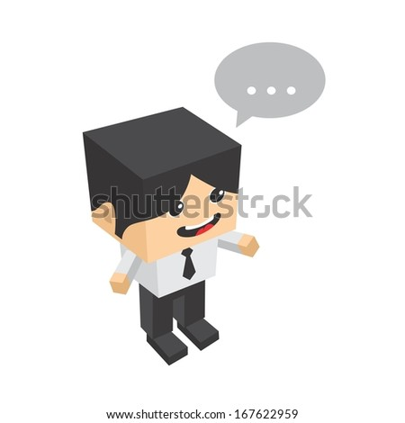 Isometric Businessman Character Illustration - stock vector