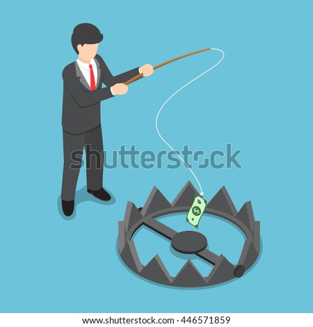 Isometric businessman stole money from bear trap by fishing rod, investment risk, business challenge concept - stock vector
