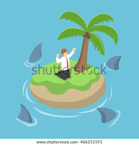 Isometric businessman stranded in an island surrounded by shark, danger, business risk, bankruptcy concept, VECTOR, EPS10 - stock vector