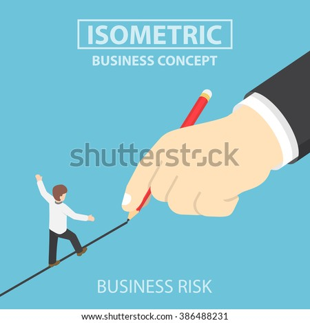 Isometric businessman walking on drawn line, business risk, opportunity concept, VECTOR, EPS10 - stock vector
