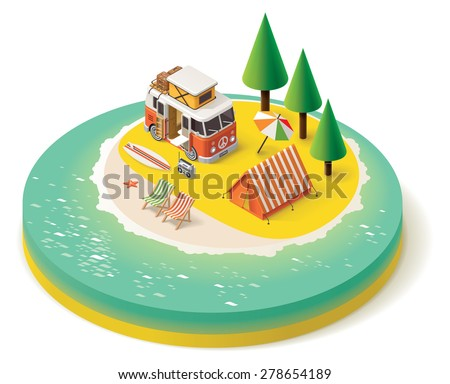 Isometric camper van on the beach - stock vector