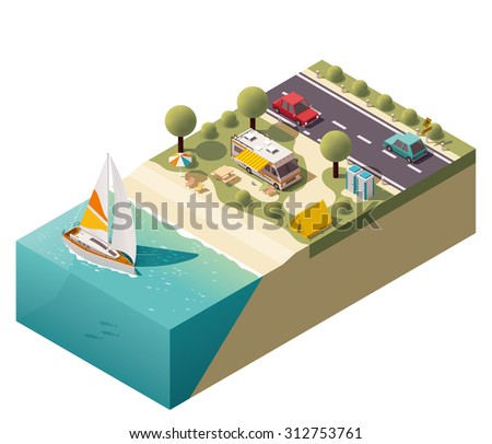 Isometric campsite near the coast - stock vector