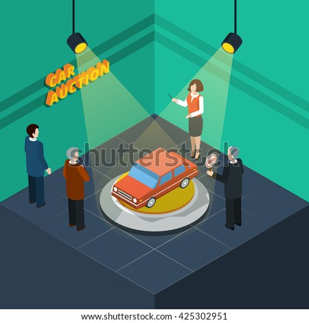 Isometric car auction process abstract with bidding people looking at the car presented vector illustration - stock vector
