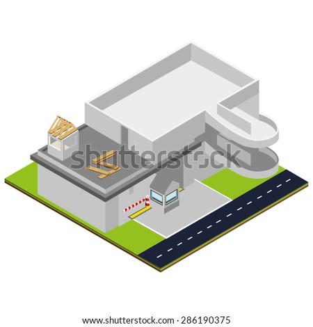 Isometric car parking. Isometric unfinished construction. Isolated vector illustration. - stock vector