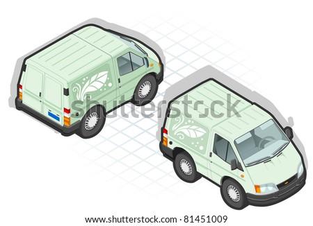 Isometric cartoon green van - stock vector