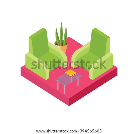 Isometric chair design isolated white. Armchair furniture and isometric furniture seat, interior comfortable, relaxation sit comfort, table and plant vector illustration  - stock vector