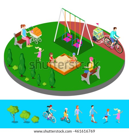 Isometric Children Playground in the Park with People, Sweengs and Sandbox. Vector illustration