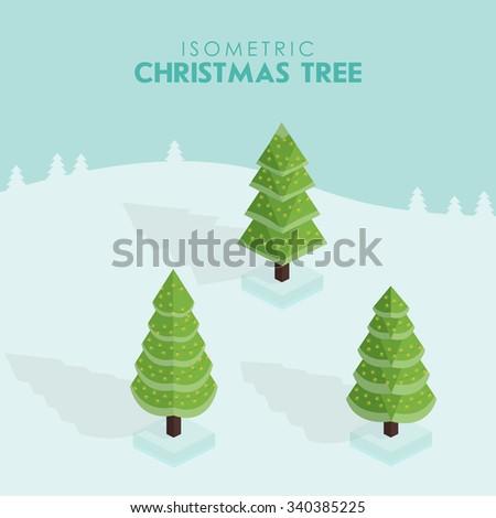 Isometric christmas tree. Isometric spruce.  - stock vector