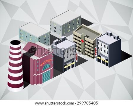 isometric city - stock vector