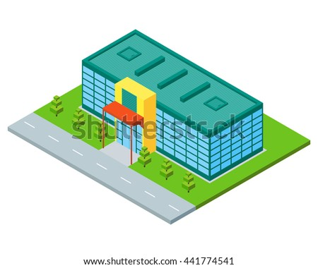 Isometric city building of supermarket, store or mall. Three dimensional town constraction. Shopping flat concept. Infographic design element. Vector isolated illustration.
